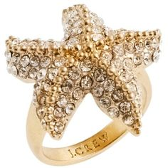 J.Crew Crystal starfish ring found on Polyvore featuring polyvore, women's fashion, jewelry, rings, ehted, starfish, j crew jewelry, starfish jewelry, crystal jewelry and crystal rings