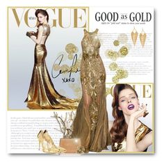 """Gold Kinds of Beautiful!"" by bliznec ❤ liked on Polyvore featuring moda, Oscar de la Renta, Panacea e Natalie B"