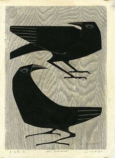 Why the crow? Growing up in California's Central Valley, founder, Rebeca Barron, was always fascinated by crows. Art And Illustration, Illustrations, Botanical Illustration, Crow Art, Bird Art, Japanese Prints, Japanese Art, Japanese Woodcut, Art Chinois