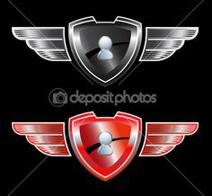 Secure shield with wings — Stock Illustration #10323852