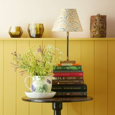 Pickling table lamp in antiqued brass Table Lamps Pooky Lighting, Shetland, Yellow Interior, Brass Table Lamps, Cottage Interiors, Small Tables, Front Door Decor, Beautiful Interiors, Messing