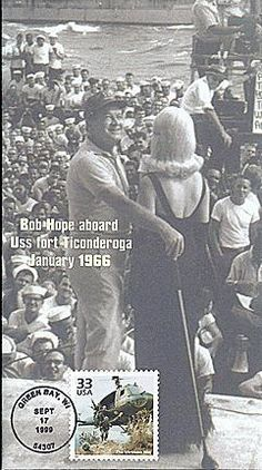 At Bob Hope was still on the road to the next yuk. The gobs aboard USS Fort Ticonderoga in Jan 1966 enjoyed an act the comic (who enlisted in the USO in had bravely performed in various theaters of World War II and Korea. Fort Ticonderoga, Bob Hope, Sea To Shining Sea, Past Present Future, Thanks For The Memories, Iconic Photos, The Old Days, Vietnam War, World War Ii