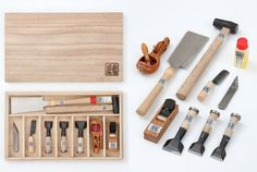 Miniature Japanese Hand Tools and Woodworking Set in Case