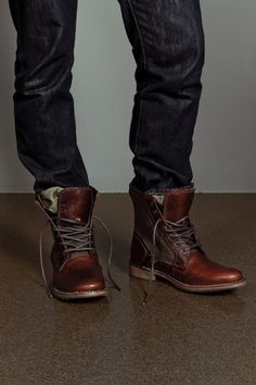 Denim jeans for men and brown lace up boots - get your outfit @ www.BootsJeansandLeathers.com