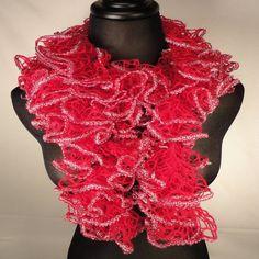 Pink Topaz/Silver Ruffe Scarf - Dark Pink Scarf - Ruffle Scarves - Crocheted Scarf - Ladies Ruffle Scarf by HappyNanaba, $9.00 USD