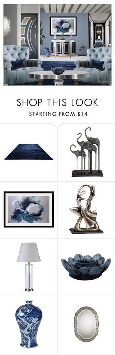 """FRIDAY NIGHT BLUES"" by arjanadesign ❤ liked on Polyvore featuring interior, interiors, interior design, casa, home decor, interior decorating, HallWay, Pulaski, Universal Lighting and Decor e Kravet"