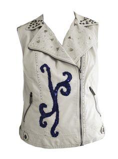 White biker vest with royal blue details - by CM Design