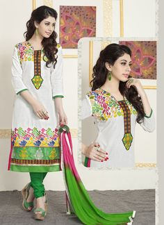 A great collection of stunning salwar suit. Buy online mesmeric embroidered work churidar designer suit.