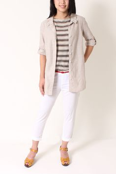 Hadley Jacket with striped top from the same beige color family. Throw on our white clean Channing pants with red circle belt for an effortless brunch look.