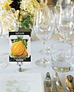Susan and Steven chose their favorite seed packets to grace reception tables. The minty-hued apple motif on the letterpress menus, inspired by the gardens at Blue Hill, the site of the reception, echoed the invitations' envelope liner.