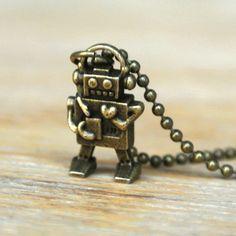 10% SALE - Necklace Miniature Robot Retro Itty Bitty Cute Antique Brass Kawaii Pendant Necklaces Gift. £5.49, via Etsy.