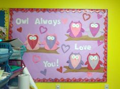 February Bulletin Board- adapt to owl always love reading