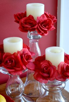 Your candles are naked! Quick ~ get them dressed with a few dollar store blooms. You can create these super easy candle floral rings in no time at all!