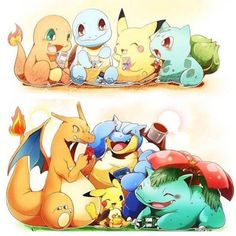 Charmander, Squirtle, Pikachu, and Bulbasaur > Charizard, Pikachu, Pichu, Blastoise, and Venusaur