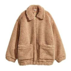 BNWT New H&M Trend Teddy Bear Pile Fur Shearling Coat Jacket Blogger... ❤ liked on Polyvore featuring outerwear