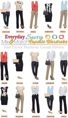Ann Taylor Business Casual Capsule Wardrobe – Mix & Match Outfits for the Office | Everyday Savvy | Bloglovin'