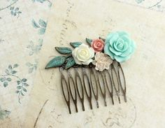 Flower Hair Comb Wedding Bridal Hair by apocketofposies on Etsy