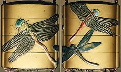 Case (Inrô) with Design of Dragon Flies  Period: Edo period (1615–1868) Date: 18th–19th century Culture: Japan Medium: Lacquer, fundame, gold, brown and red hiramakie, takamakie, ceramic inlay; Interior: roiro and fundame