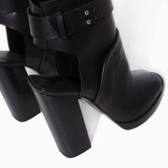 Image 4 of LEATHER HIGH HEEL PEEP TOE ANKLE BOOT from Zara