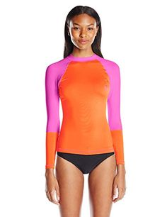 Roxy Juniors Sea Bound Long Sleeve Rash Guard Two-tone rash guard featuring crew neckline, logo at sleeve and chest, and long sleeves with raglan seams Contrast stitching at hem and cuffs UPF protection Swim Shirts For Women, Swim Shorts Women, Hot Outfits, Fashion Outfits, Swimsuit Cover Ups, Rash Guard, Women Swimsuits, Roxy, Women's Swimming