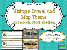 Check out this Freebie from my Vintage Travel and Map Themed Classroom Decor Set.Vintage Map and Travel Theme Classroom Decor Pack