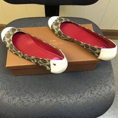 NWB, Coach Brown And Cream Signature Flats Brand new, never worn, brown signature with cream coach flats. Comes with box. Authentic! Coach Shoes Flats & Loafers