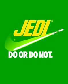 I like how this design is a play upon the Nike logo, but uses color and shape to bring to mind Star Wars.