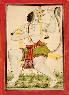 Hanuman Dancing, India, Bilaspur, circa 1700-20