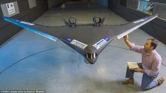 Boeing is developing the plane alongside Nasa, and testing it at the Nasa Langley Research Center's by Subsonic Tunnel in Virginia. Tests will continue until the end of September. Aero Modelo, Flying Wing, Flying Vehicles, Flying Drones, Drone Technology, Kart, Aircraft Design, Jet Plane, Drone Quadcopter