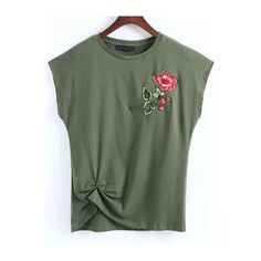 Army Green Flower Embroidery Cap Sleeve T-shirt ($18) ❤ liked on Polyvore featuring tops and t-shirts