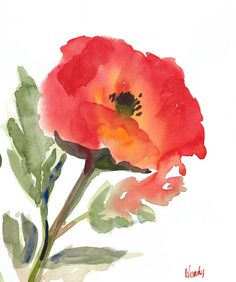 """""""Poppy"""" Beautiful watercolor painting by Wendy"""
