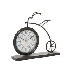 """Grayson Lane Vintage Style Brown Metal Penny-Farthing Clock 12"""" x 13"""" x 2"""" in the Clocks department at Lowes.com Tabletop Clocks, Mantel Clocks, Bicycle Clock, Penny Farthing, Metal Clock, Vintage Fashion, Vintage Style, Vintage Designs"""