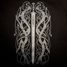 Ancient Ulfberht Sword design with Urnes Style Knotwork Dragons Shirt – Tshirt – Norse Nordic Viking Frankish Historically Inspired – Norse Mythology-Vikings-Tattoo Viking Sword Tattoo, Viking Tattoo Sleeve, Norse Tattoo, Viking Tattoos, Sleeve Tattoos, Armor Tattoo, 3d Tattoos, Tribal Tattoos, Buddha Tattoos