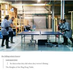 Who needs jousting when you have a ping pong table backstage?