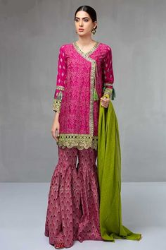 Maria B Engagement Dress Featuring Embroidered Wedding Angrakha with Gharara Pants is available for SALE online. Maria B Wedding Pret Shadi Dresses, Eid Dresses, Linen Dresses, Pakistani Dresses, Indian Dresses, Indian Outfits, Fashion Dresses, Baby Boys, Gharara Pants