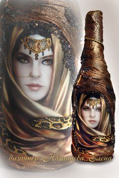 Painting and decoupage bottles from designer Elena Kazantseva . Discussion on LiveInternet - Russian Service Online Diaries Wine Bottle Design, Wine Bottle Art, Diy Bottle, Glass Bottle Crafts, Glass Bottles, Jar Art, Altered Bottles, Recycled Bottles, Bottle Painting