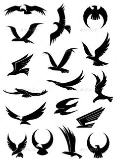 Buy Flying Eagle, Falcon and Hawk Icons by VectorTradition on GraphicRiver. Flying eagle, falcon and hawk vector logo icons showing different wing positions in black silhouette, some with white. Silhouette Aigle, Adler Silhouette, Black Silhouette, Doodle Drawing, Eagle Drawing, Drawing Drawing, Logo Sketch, Falke Tattoo, Bird Silhouette Tattoos