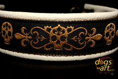 dogs-art Skulls Martingale Chain Leather Collar - creme/camel/skulls gold