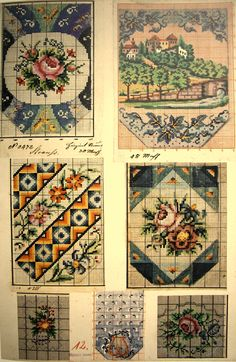 Berlin WoolWork Patterns For Antique Victorian BeadWork Purses No.6 Vintage Beaded Purses