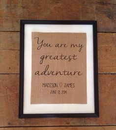 Personalized Custom burlap art Pixar Up inspired You are my greatest adventure wedding dates couple names ARTWORK ONLY