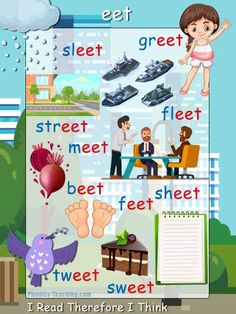 eet words phonics poster with pictures - FREE & Printable - Ideal for creating classroom books Phonics Flashcards, Phonics Words, Phonics Worksheets, English Fun, Learn English, School Board Decoration, Phonics Blends, Underarm Stains, Learning Sight Words