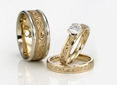Artistic #6: Wind and Wave 14k. Two-toned with center diamond ranging from 3.75mm-8mm.