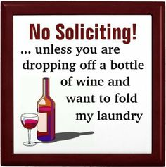 No Soliciting Wine Sign Ceramic Tile #wine #gift #decor