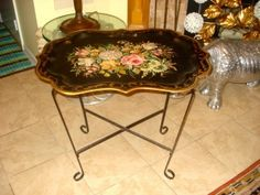 Large Vintage Hand Painted Tole Tray on Stand Jordon Marsh Company