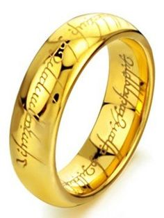 TOPSELLER! LORD OF THE RINGS 6MM High Polish Gold Plated Tungsten Carbide Wedding Band Mens $24.95