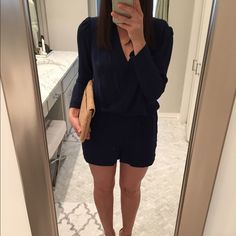 Navy long-sleeve m, pleated front romper Never worn size small, Eight-Sixty long-sleeve navy blue romper Eight Sixty Other