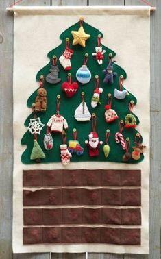 yarn Ornaments Advent Calendar - I give it a week til he loses one (Yarn Harlot). Crochet Christmas Trees, Christmas Tree Pattern, Christmas Knitting, Felt Christmas, Christmas Projects, Holiday Crafts, Christmas Holidays, Nordic Christmas, Modern Christmas