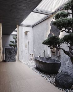 "Maison Valentina on Instagram: ""One of the most spectacular bathroom visualizations we've ever seen! What do you think of this gorgeous exterior bathroom design? 😍…"" Home Room Design, Dream Home Design, Modern House Design, Home Interior Design, Loft Design, Stone Interior, Interior Rendering, Interior Garden, Design Interiors"