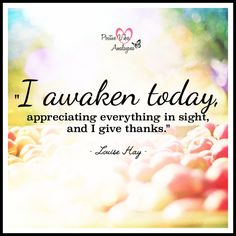 """I awaken today, appreciating everything in sight, and I give thanks."" ~ Louise Hay"