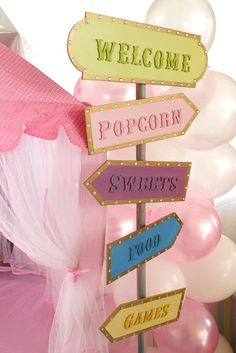 Pastel Carousel Circus Baby Shower Party Ideas Photo 1 of 19 Catch My Party Dumbo Birthday Party, Carousel Birthday Parties, Carousel Party, Carnival Themed Party, Circus Birthday, First Birthday Parties, Birthday Party Themes, First Birthdays, Carnival Cake Pops